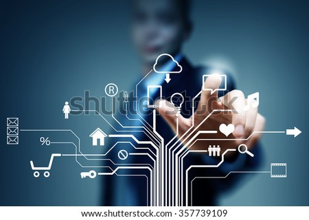 Cloud sharing and connection  - stock photo