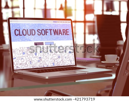Cloud Software Concept Closeup on Landing Page of Laptop Screen in Modern Office Workplace. Toned Image with Selective Focus. 3D Render. - stock photo