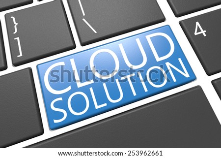 Cloud Solution - keyboard 3d render illustration with word on blue key - stock photo