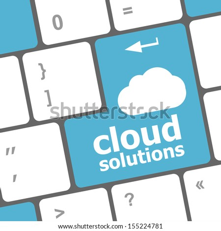 cloud solution words concept on blue button of the keyboard, raster - stock photo