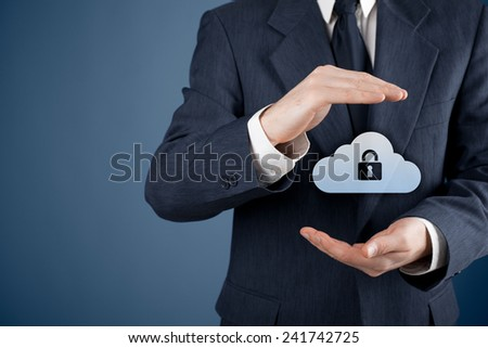 Cloud storage security concept. Security and safety of cloud computing data storage. Protecting gesture of safety data management specialist and cloud icon with padlock. - stock photo