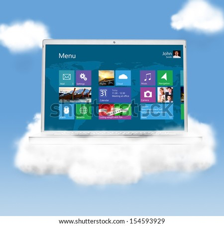 cloud technologies, modern laptop in skies