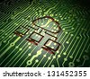Cloud technology concept: circuit board with Cloud Network icon, 3d render - stock