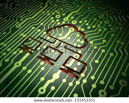 Cloud technology concept: circuit board with Cloud Network icon, 3d render - stock photo