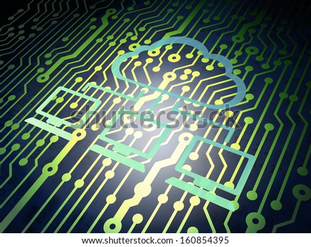 Cloud technology concept: circuit board with Metal Cloud Network icon, 3d render - stock photo
