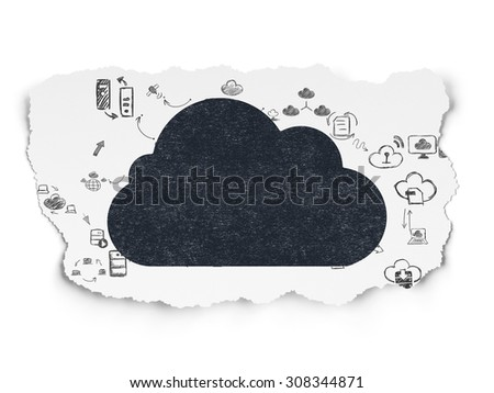 Cloud technology concept: Cloud on Torn Paper background - stock photo