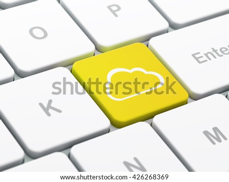 Cloud technology concept: computer keyboard with Cloud icon on enter button background, selected focus, 3D rendering - stock photo