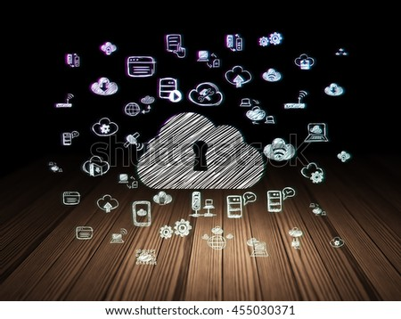 Cloud technology concept: Glowing Cloud With Keyhole icon in grunge dark room with Wooden Floor, black background with  Hand Drawn Cloud Technology Icons - stock photo