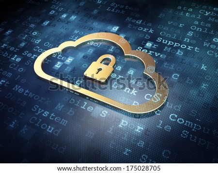 Cloud technology concept: Golden Cloud With Padlock on digital background, 3d render - stock photo