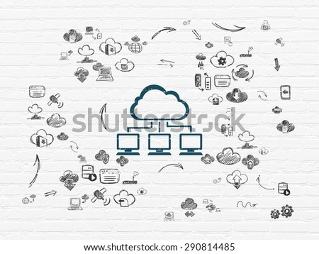 Cloud technology concept: Painted blue Cloud Network icon on White Brick wall background with Scheme Of Hand Drawn Cloud Technology Icons, 3d render - stock photo