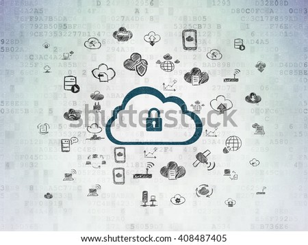 Cloud technology concept: Painted blue Cloud With Padlock icon on Digital Paper background with  Hand Drawn Cloud Technology Icons - stock photo