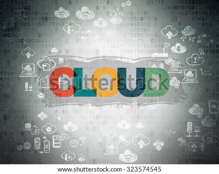 Cloud technology concept: Painted multicolor text Cloud on Digital Paper background with Scheme Of Hand Drawn Cloud Technology Icons - stock photo