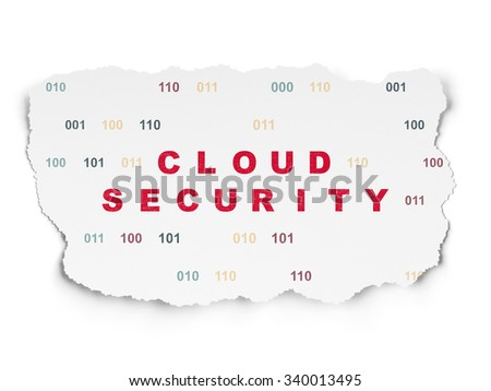 Cloud technology concept: Painted red text Cloud Security on Torn Paper background with  Binary Code