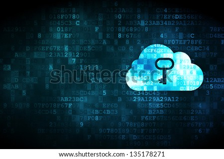 Cloud technology concept: pixelated Cloud Whis Key icon on digital background, empty copyspace for card, text, advertising