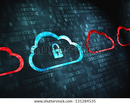 Cloud technology concept: pixelated Cloud Whis Padlock icon on digital background, 3d render - stock photo
