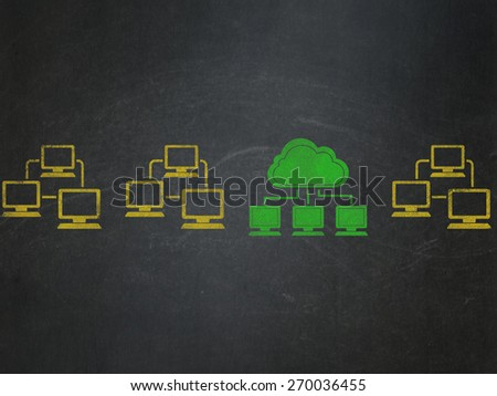 Cloud technology concept: row of Painted yellow lan computer network icons around green cloud network icon on School Board background, 3d render