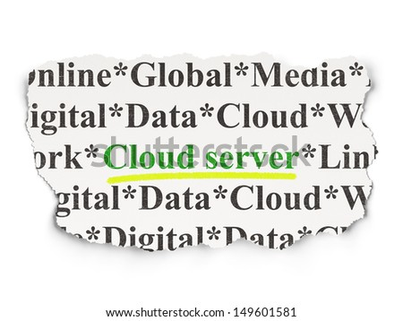 Cloud technology concept: torn newspaper with words Cloud Server on Paper background, 3d render