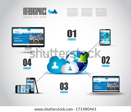 Cloud Technology Diagram with Infographics. Complete set of high detailed devices. - stock photo
