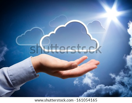 cloud technology in your hand - stock photo