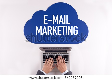 Cloud technology with a word E-MAIL MARKETING - stock photo