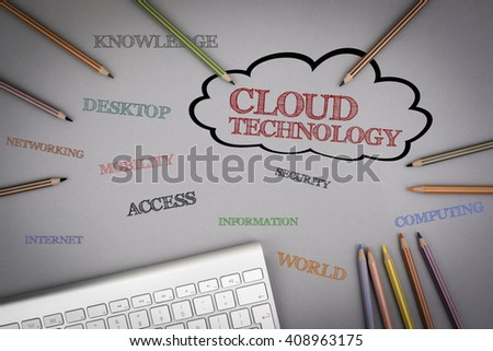 Cloud Technology word cloud. Colored pencils and a computer keyboard on the table. - stock photo