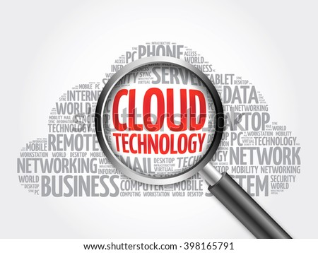 Cloud Technology word cloud with magnifying glass, business concept - stock photo