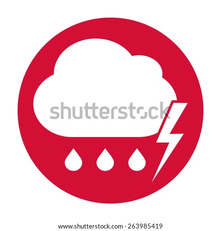Cloud thunderstorm lightning rain icon - stock photo