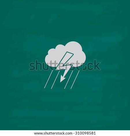 Cloud thunderstorm lightning rain.  Icon. Imitation draw with white chalk on green chalkboard. Flat Pictogram and School board background. Illustration symbol - stock photo