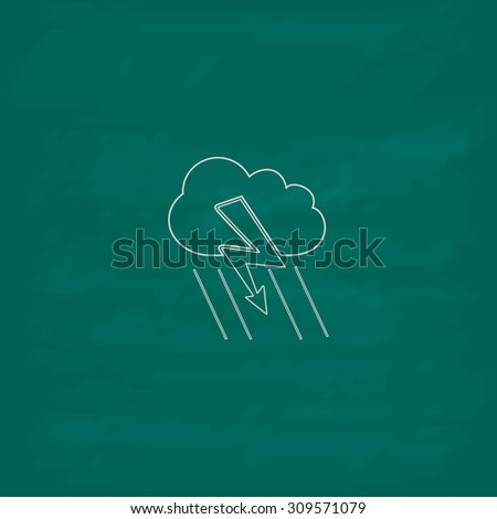 Cloud thunderstorm lightning rain. Outline icon. Imitation draw with white chalk on green chalkboard. Flat Pictogram and School board background. Illustration symbol - stock photo