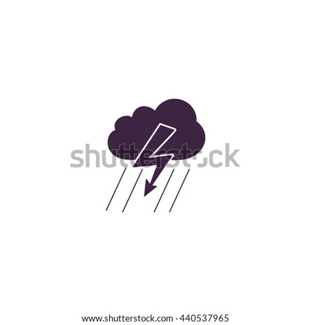 Cloud thunderstorm lightning rain. Simple blue icon on white background - stock photo