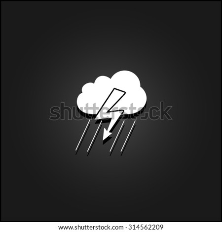 Cloud thunderstorm lightning rain. White flat simple icon illustration with shadow on a black background. Symbol for web and mobile applications for use as logo, pictogram, icon, infographic element - stock photo