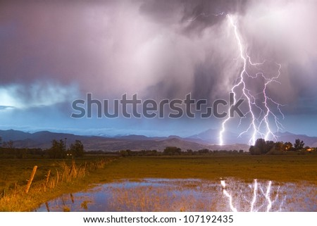 Cloud to ground lightning bolts striking the front range foothills of the Colorado Rocky Mountains in Boulder County.  A view of Mount Meeker 13,911' and Longs Peak 14,256' in the distance. - stock photo