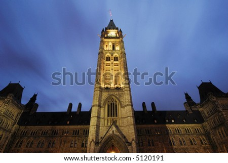 Cloud Trails over Parliament - stock photo