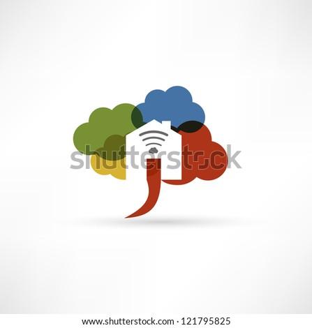 Cloud wi-fi home icon - stock photo