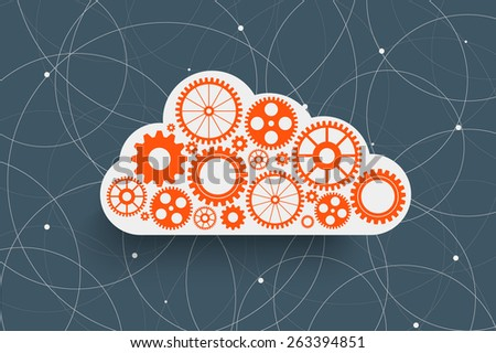 cloud with gears on creative rounds background - stock photo