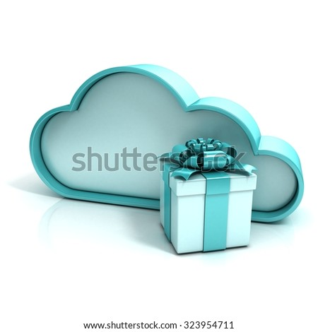 Cloud with gift box. Free additional storage. 3D computer icon isolated - stock photo