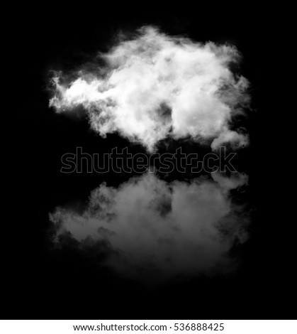 Cloud with its reflection isolated over black background