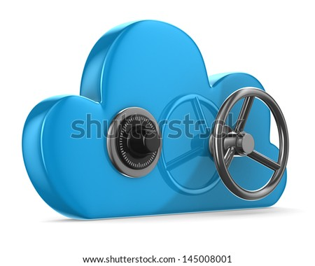 Cloud with lock on white background. Isolated 3D image - stock photo