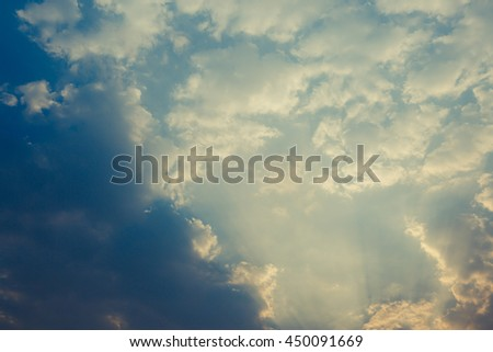 cloud with sunlight on blue sky