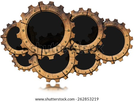 Cloud - Wooden Gears. Seven wooden cogs forming a cloud isolated on white background. Concept of lumber industry - stock photo