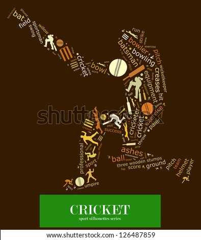 Cloud word of cricket game element and related keyword together with silhouette of several cricket actions composed in the shape of cricket batsman - stock photo