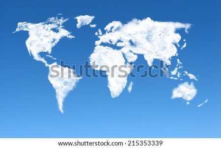 Cloud world Map - stock photo