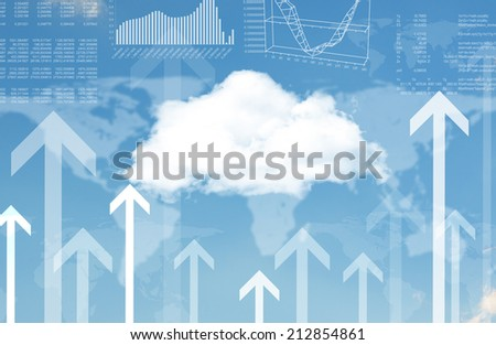 Cloud, world map and arrows