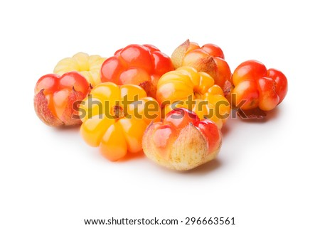 Cloudberries (moroshka) isolated on white. Wild northern berries. Large depth of field