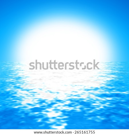 cloudless blue sky background with bright sun and crystal clear water - stock photo
