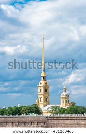 Clouds above Peter and Paul Fortress, St. Petersburg, Russia. Middle view. - stock photo