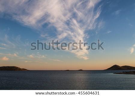 Clouds above the sea, National Park Kornati in Croatia at Adriatic sea, Mediterranean, Europe - stock photo