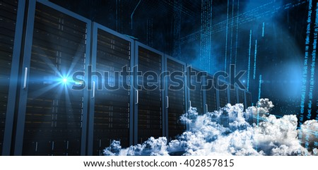 Clouds against illustration of virtual data