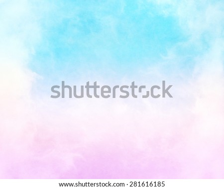 Clouds and fog with a pink to cyan-blue gradient.  This image has a paper texture background for added depth and mottling; a pleasing grain and texture is visible when viewed at 100 percent. - stock photo
