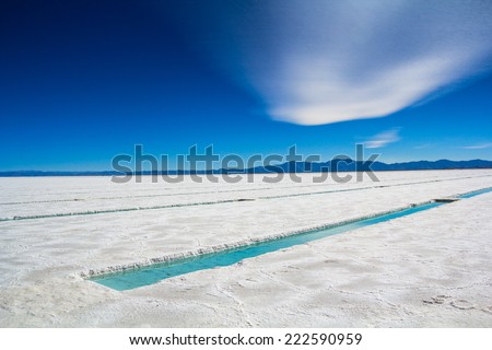 "Clouds and salt. ""Salar Grande"", Jujuy Province - Argentina. - stock photo"